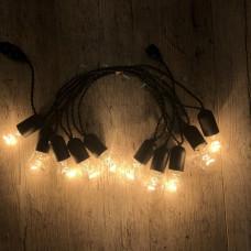Ретро гирлянда для помещений Alphatrade, 5 метров 10 ламп накаливания, чёрная