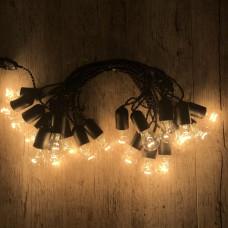 Ретро гирлянда для помещений Alphatrade, 15 метров 30 ламп накаливания, чёрная