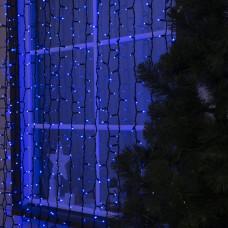 Гирлянда уличная Штора Alphatrade Premium, 2*2 м, 216LED, с мерцанием flash, черный провод, синий