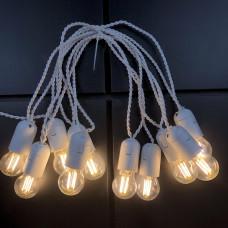 Ретро гирлянда для помещений Alphatrade, 5 метров 10 филаментных LED ламп, белая