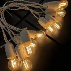 Ретро гирлянда для помещений Alphatrade, 10 метров 20 филаментных LED ламп, белая
