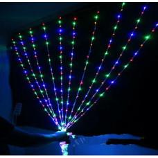 Гирлянда Штора Alphatrade 1,8 *1,4 м, 320LED, + статика, прозрачный провод, разноцветный