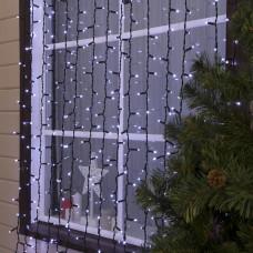 Гирлянда уличная Штора Alphatrade Premium, 3*3 м, 480LED, с мерцанием flash, черный провод, холодный белый