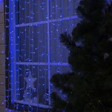 Гирлянда уличная Штора Alphatrade Premium, 3*3 м, 480LED, с мерцанием flash, белый провод, синий