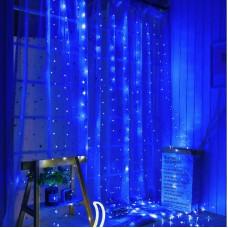 Гирлянда Штора на проволоке Alphatrade 3х2,5 м, 425LED, синий