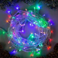 Гирлянда нить на ёлку Alphatrade, 100LED, 8 м, прозрачный провод, разноцветный